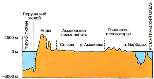Геологическое строение и основные формы рельефа Южной Америки  Рис 108 Профиль рельефа материка