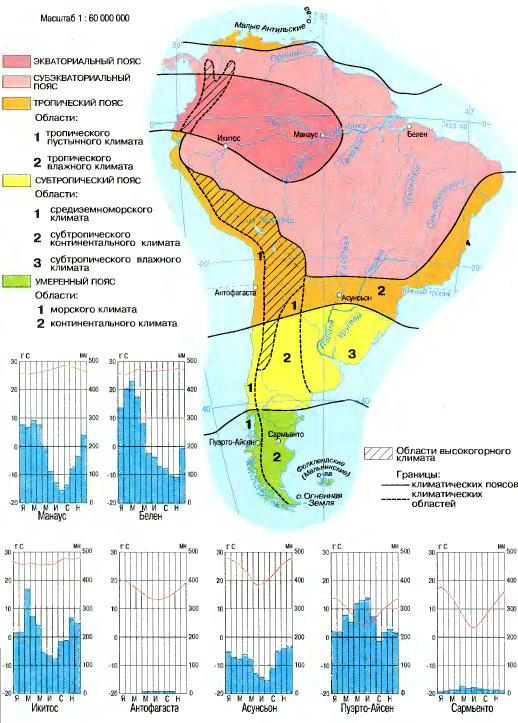 Климатические пояса и области Южной Америки География Реферат  Рис 113 Климатические пояса и области Южной Америки